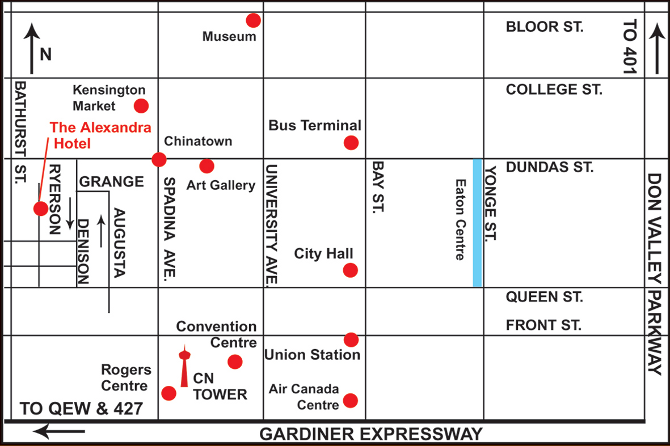 Map of the downtown Area, highlighting the hotel and local attractions.